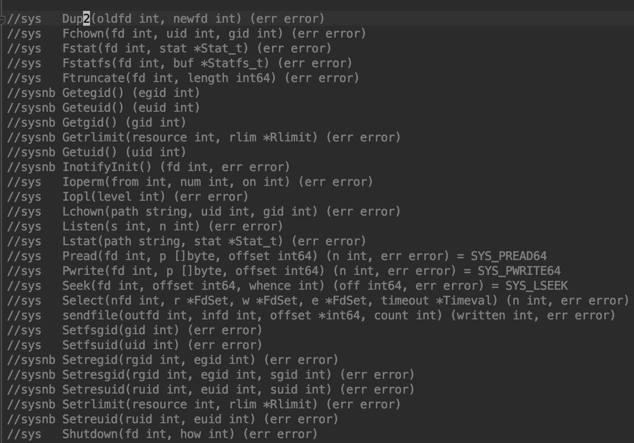 系统调用列表节选